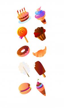 Векторные иконки для магазина сладостей