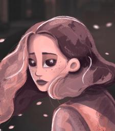 """Иллюстрация """"Тревожная девушка"""""""