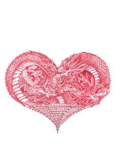 Графика красными чернилами пером