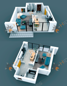 3D Visualization Of One-Room Apartment