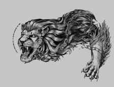 Дизайн эскиза татуировки (Львиный наплечник)