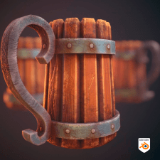 Старая деревянная кружка. Low Poly