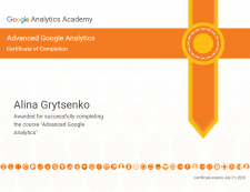 Сертификат Advanced Google Analytics