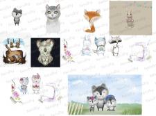 Миленькие детские зверьки иллюстрации в бохо стиле