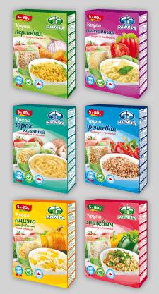 Серия упаковок на крупы в варочных пакетах