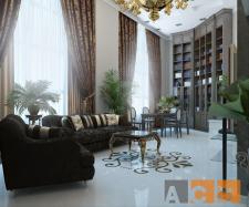 Гостинная двухуровневой квартиры_ракурс1