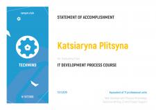 Сертификат о прохождение курса Techmind