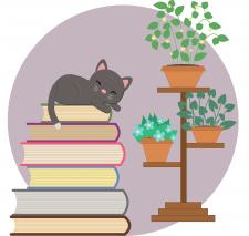 Кот на книгах