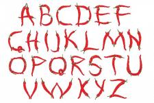 Alphabet of peppers/ векторная графика