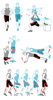 Спортивные упражнения по легкой атлетике.