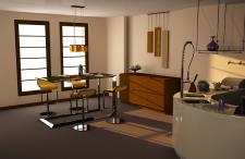 Интерьер кухни и столовой