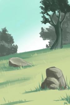 Концепт задний фон поляна с камнями
