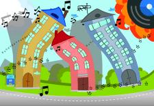 Иллюстрация для детской книги Веселый город