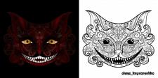 Чеширский кот + раскрас под тему Хэллоуина