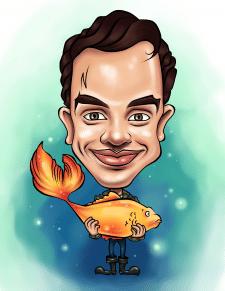 """Шарж """" Рыбак и золотая рыбка"""""""