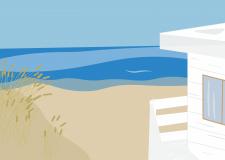 Иллюстрация дома у моря