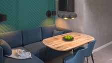 Дизайн-проект 1к квартири. Кухня-вітальня.