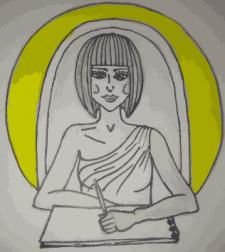лого девушки рисующей акварельными красками кистью