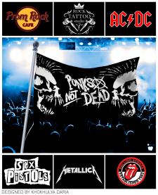 Флаги и логотип (Пром Рок Кафе) для  рок вечеринки