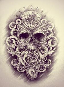 Череп и роза