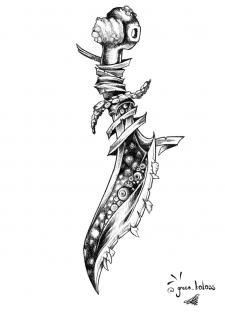 Костяной кинжал Tattoo эскиз