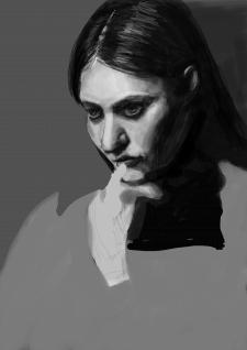 Портрет задумчивой девушки