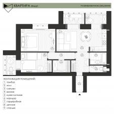 Планировочное решение 3х-комнатной квартиры (67м2)