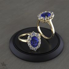 Парные кольца с сапфирами и бриллиантами .