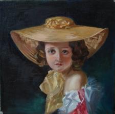 Работа Маслом _ Девочка в шляпе