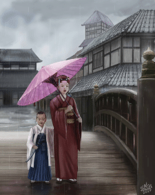 Старая Япония - дети на мосту