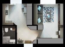 Квартира 36м2 (площадь поделена стенами)