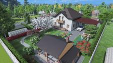 3D территории загородного дома в еловом лесу