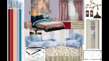 Интерьерный коллаж, спальня совмещенная с гостинно