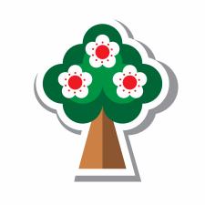 "Иконка ""Цветущее дерево в стиле флэт"""