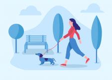 Иллюстрация - девушка гуляет с собакой