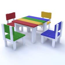3Д модель детского стола со стульчиками