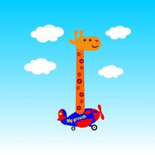 Height meter giraffe on the plane