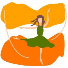 балерина танцует осенью