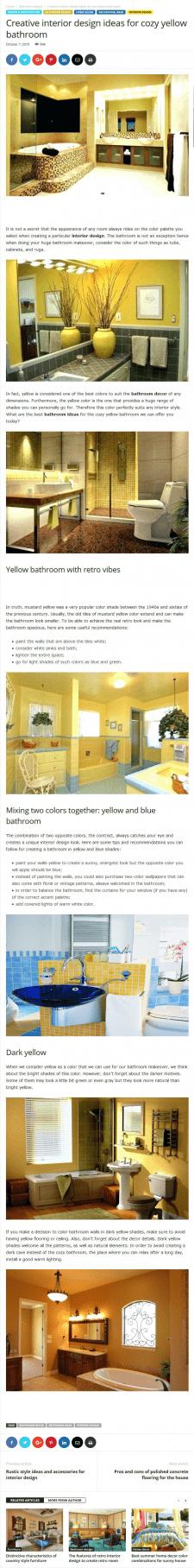 Статья на англ. яз. Дизайн интерьера в желтых тона