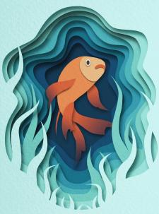"""Рибка в стилі """"paper cut-out art"""""""