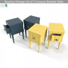 Bourbon Vintage Set of 2 Compact Bedside Table