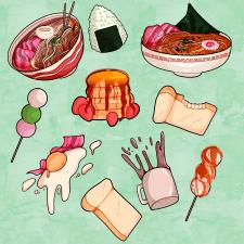Наклейки в виде еды