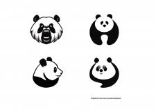 Логотипы-знаки на основе биоформы (панды)