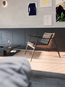 Спальня  в квартире с панорамными окнами