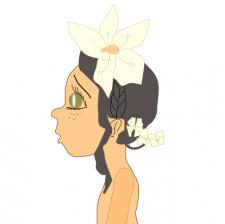 девочка с зелеными глазами и цветком