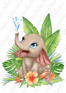 Cute baby elephant poster, picture, illustration