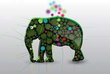 Дизайн банера с изображением слона