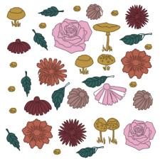 осенний сет с цветами, грибами, листьями 2
