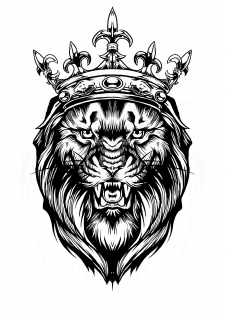 Дизайн эскиза татуировки ( Лев с короной)