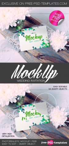 FREE WEDDING INVITATION MOCK-UP IN PSD